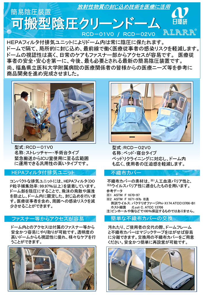 簡易陰圧装置 可搬型陰圧クリーンドーム